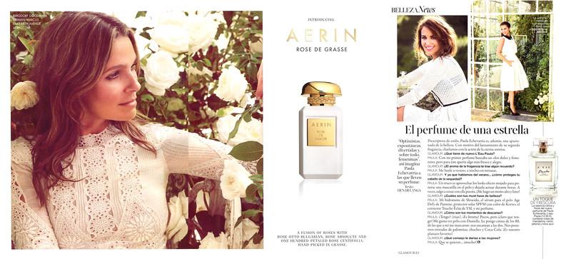 2015 AERIN Rose de Grasse fragrance ad from USA vs 2016 Paula L'Eau by PAULA ECHEVARRÍA fragrance advertorial from Spain