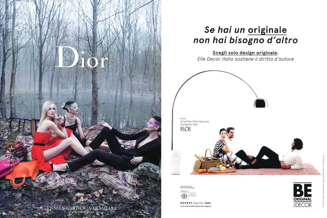2013 DIOR spring-summer fashion ad vs 2013 BE ORIGINAL home design studio ad (both from Italian magazines)
