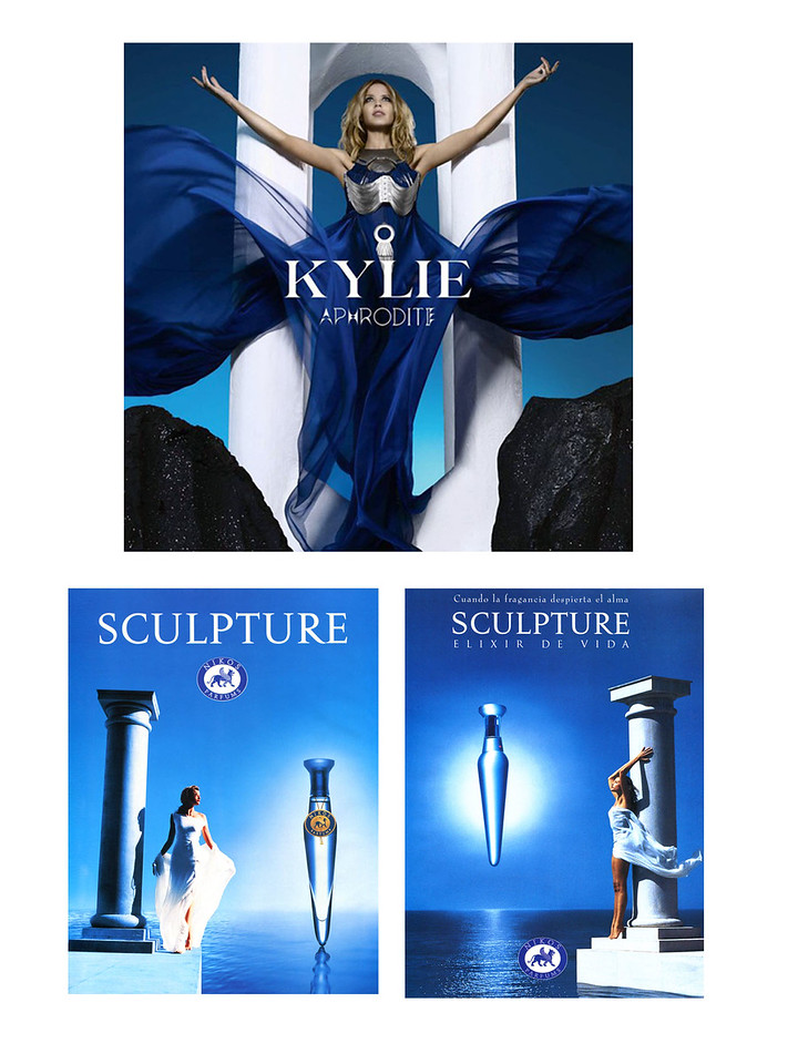 Aphrodite by KYLIE MINOGUE 2010 CD cover vs NKOS  Sculpture fragrance ads (1994-1995)