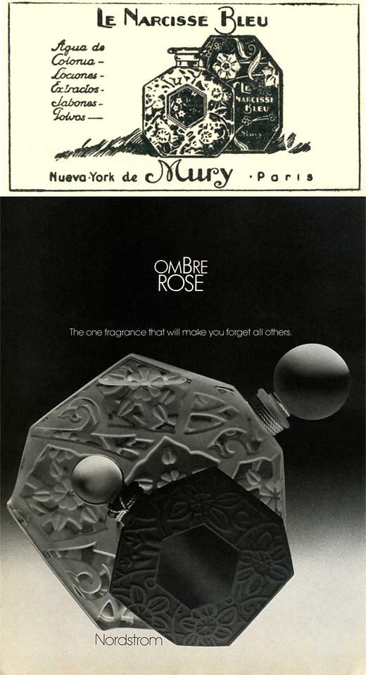 1928 MURY Le Narcise Bleu  fragrance ad vs 1982 BROSSEAU Ombre Rose  fragrance ad