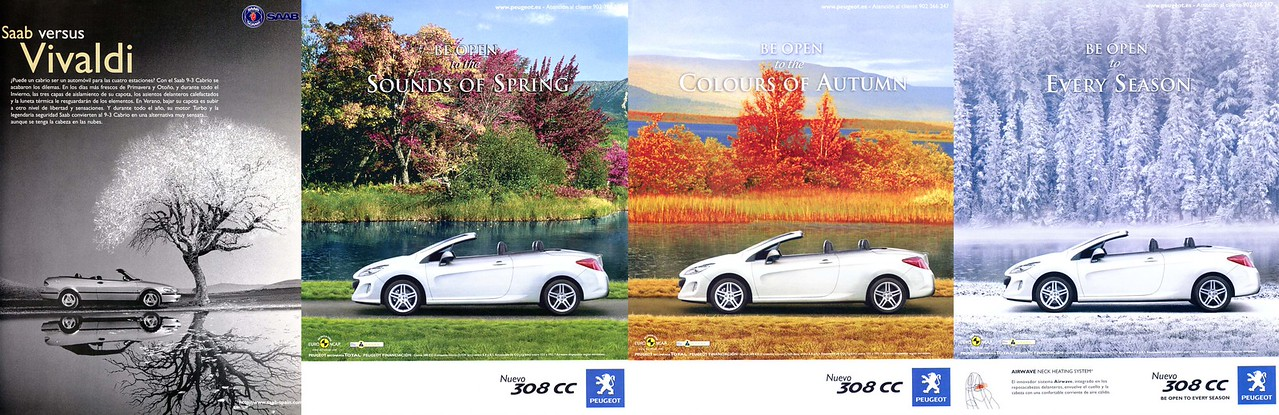 SAAB cars ad  (1995) vs PEUGEOT cars 3-page ad (2009), both from Spain
