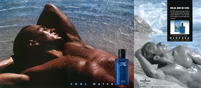 DAVIDOFFf Cool Water fragrance ad (1992) France vs BLUE SEA Cologne ad (1993)