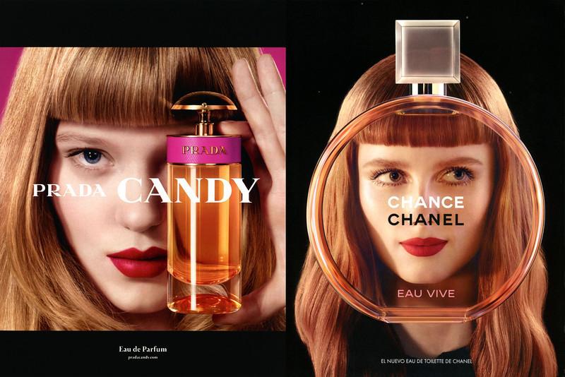2011 PRADA Candy fragrance ad vs 2014 CHANEL Chance Eau Vive fragrance ad (both photos  by Jean-Paul Goude)