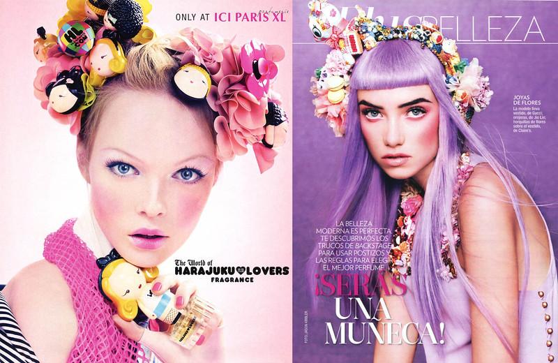 2009 HARAJUKU LOVERS fragrance ad by Craig McDean vs 2013 GLAMOUR GERMANY beauty editorial by Jason Kibbler