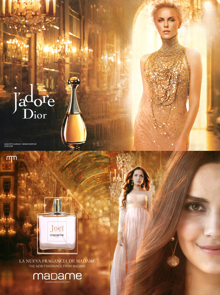2012 J'Adore DIOR Eau de Parfum ad from US vs 2015 Joeï fragrance by MADAME ad from India