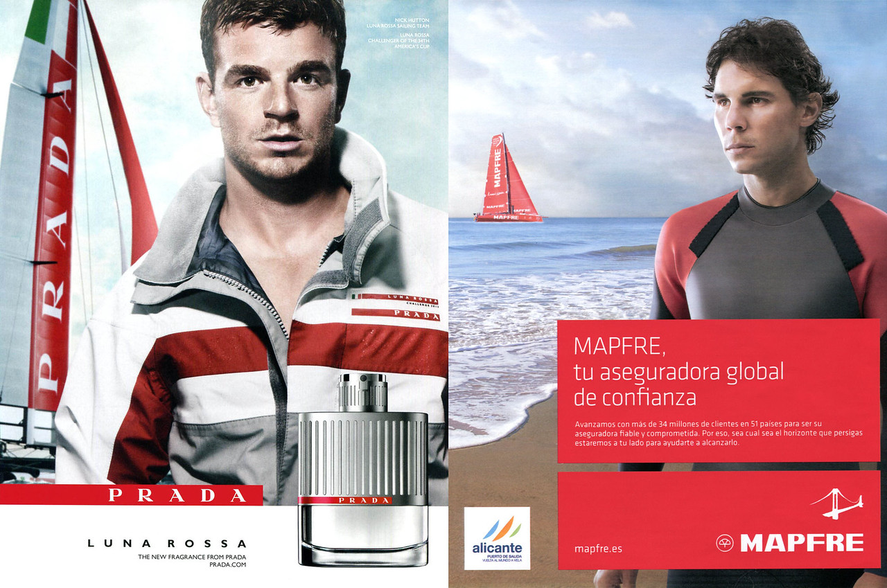 2013 PRADA Luna Rossa cologne ad vs 2016 MAPFRE insurance ad from Spain<br /> featuring  Nick Hutton & Rafael Nadal