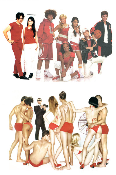 'Red&WhiteStrip(e)s' collage by Stray
