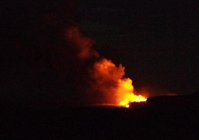 Lava from Kilauea Volcano entering the sea at the Big Island of Hawai'i