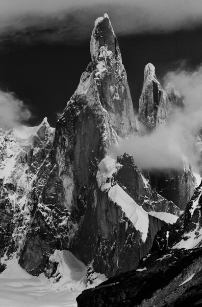 New version of the old image.  Cerro Torre towers in Patagonia, Los Glaciares National Park, Argentina.<br /> <br /> Silver Efex Pro rocks...