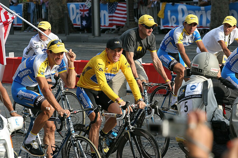 A blast from the past- I found my pictures from the 2005 Tour de France.  This is Lance Armstrong (in yellow) and George Hinkapie (with the flag), making the last ceremonial round on the Champs Elisee after Armstrong just won the Tour for the 7th time.