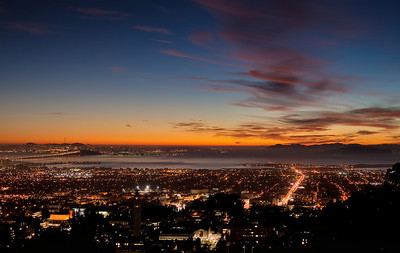 Berkeley and San Francisco at sunset from LBL campus in Berkeley hills.  This is an HRD composite from two exposures.