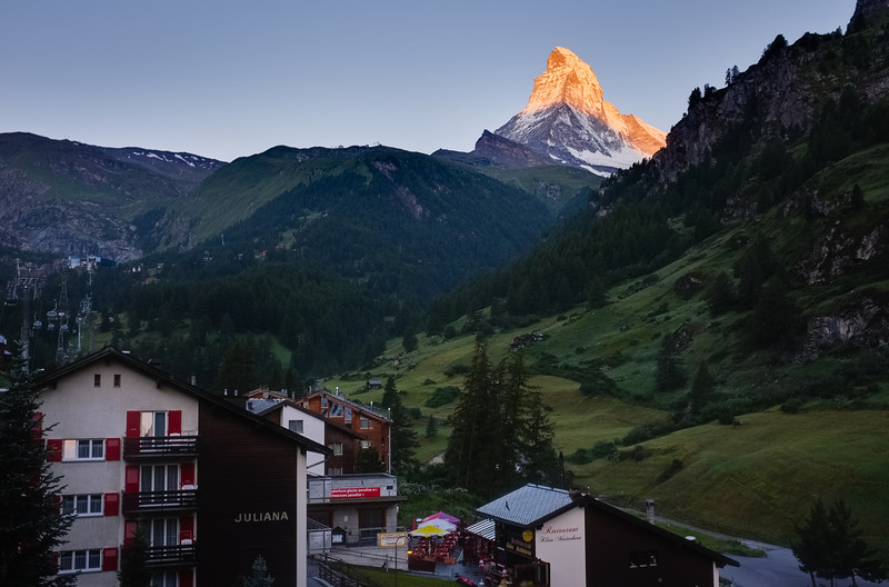 Zermatt Valley with Matterhorn standing directly at its head.
