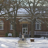 Jefts Hall (library) through a snow shower.