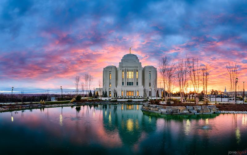 Meridian Idaho LDS Temple - Sunrise colors