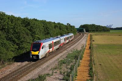 755334 works the 2R25 1728 Felixstowe to Ipswich at Trimley on Felixstowe line on 15 June 2020  GreaterAnglia, Class745, Felixstoweline