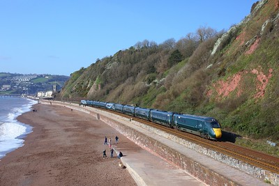 802006 leads 802020 on 1A79 Plymouth to London Paddington at Sprey Point, Teignmouth on 4 April 2021  Class802, GWR, SouthDevonMainline