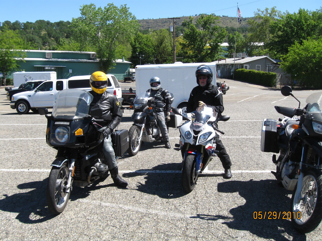 Nick K. Brown, Rick Klain, Chuck Brown wait for others joining the Poker Run ride.