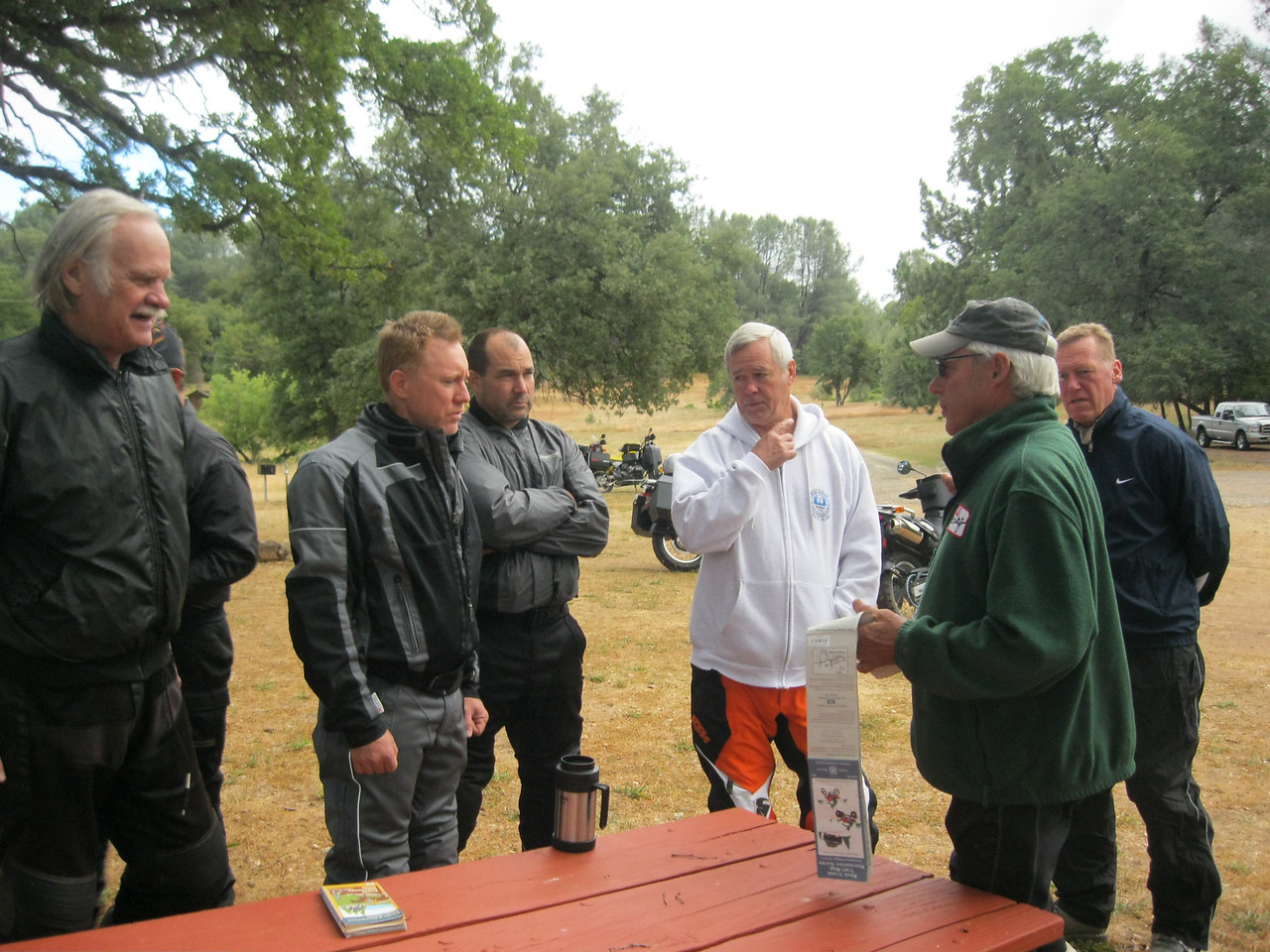 Ron, Darold, Steve, Russ & Roy listen to Tuco's GS ride briefing.