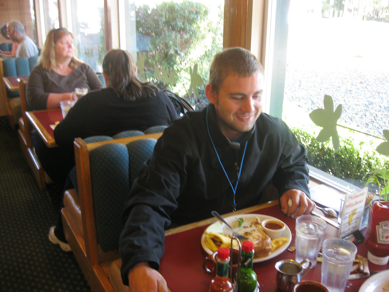 Max Hunt enjoys his breakfast.
