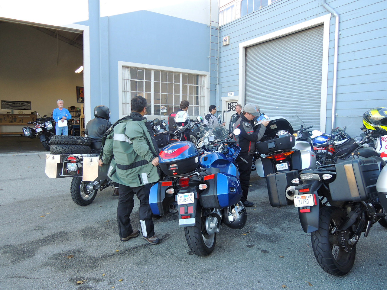 Norcal members arrive at Moto Shop.