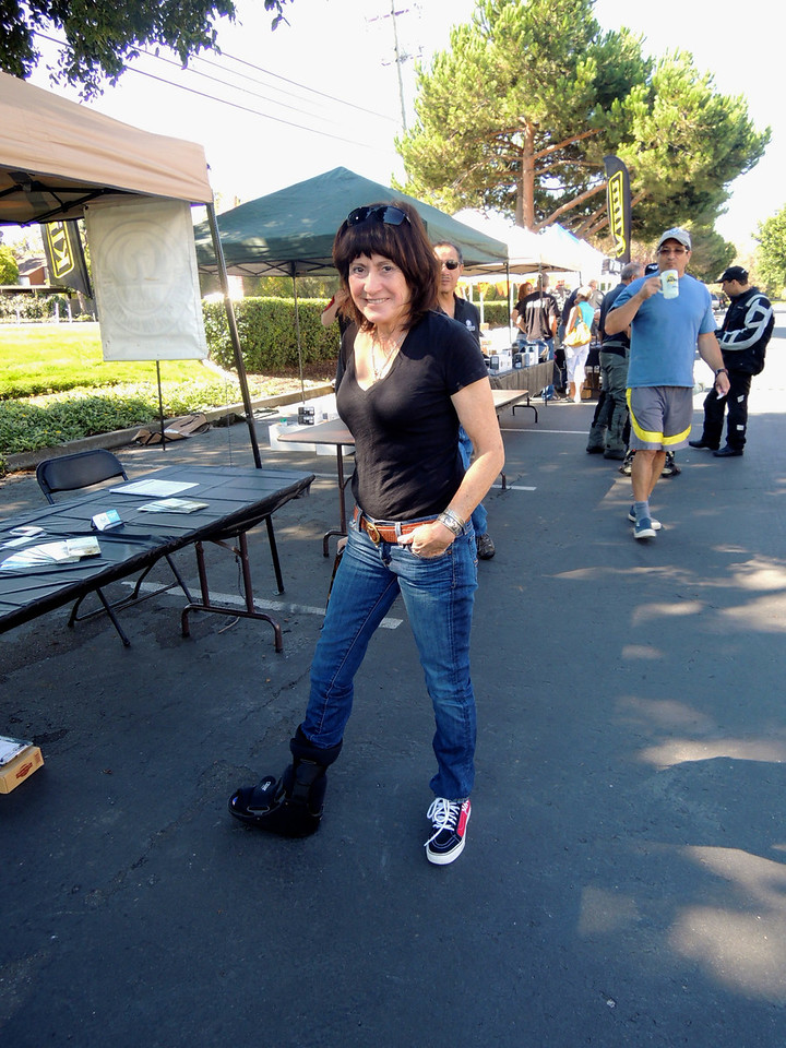 Oh NO!, Barabara Garfien wearing a moon boot. That didn't stop her coming to Oktoberfest.