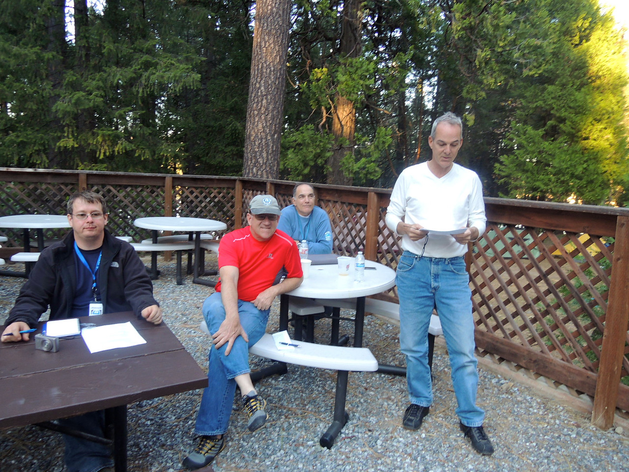 Vice President, Dan Rowe. Historian, Don Alexson, Safety/Tech, Buddy Scauzzo listen attentively to Trasurer, John Vashon.