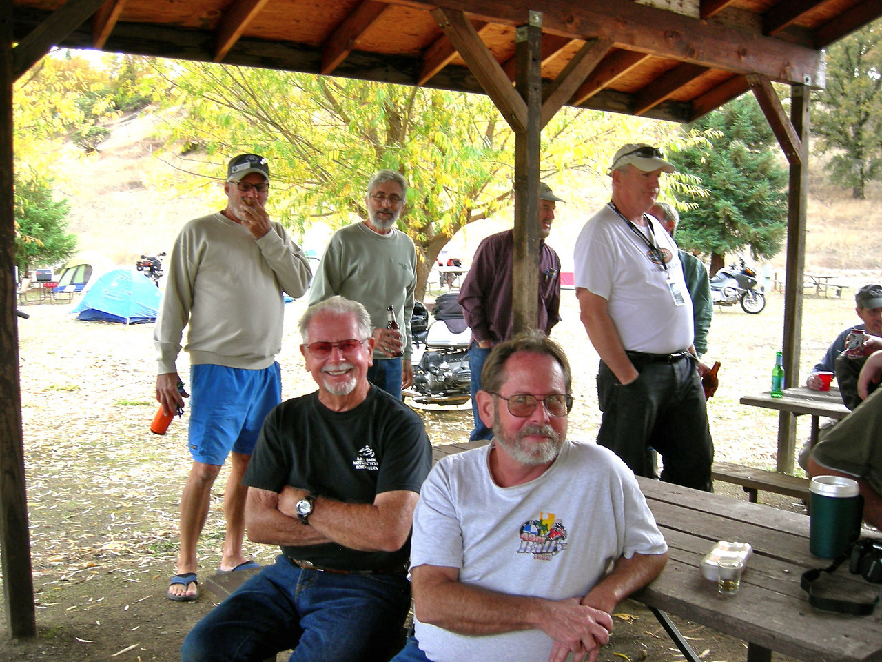L to R: Terry Hieb and Pat Holland<br /> Standing: Tuco Harris, Bruce Schadel (first meeting), Gene austin, Tom Connely.