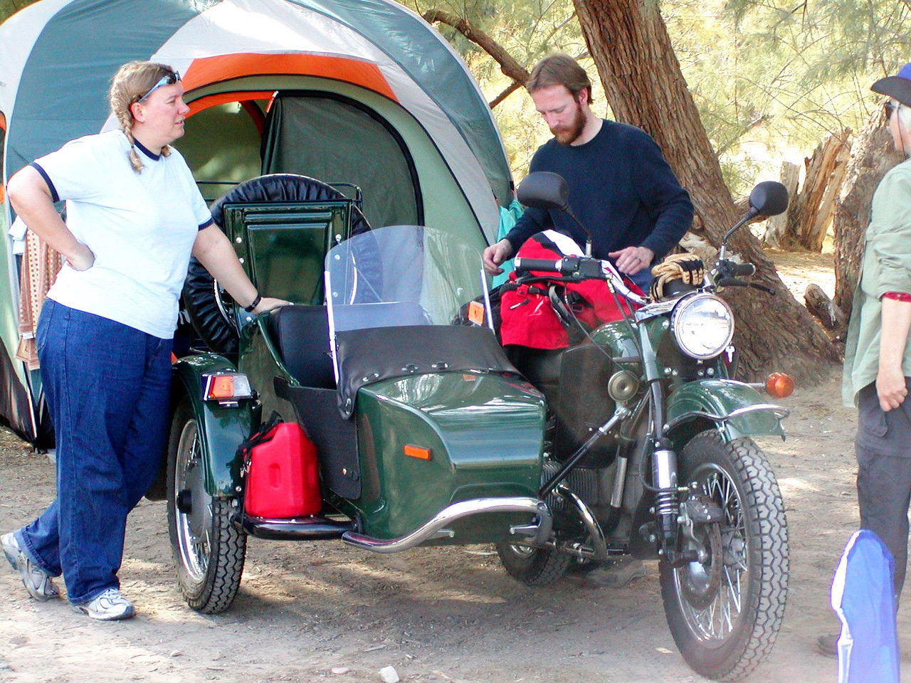 Sarah Palmer and Warren Barnes with their new Ural sidecar outfit