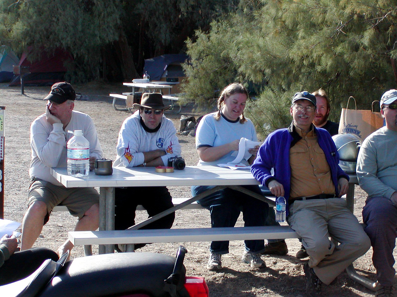 (l to r) Tom Connolly, Chuck Bell, Sara Barnes, Scot Marburger, Warren Barnes (behind Scot), and Roger Malone (truncated)