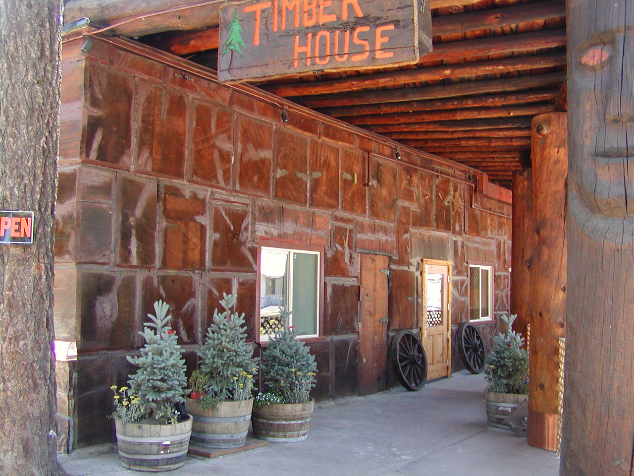 The Timber House Restaurant building in Chester was built out of chunks of old growth wood. The chunks were stacked up like masonry!