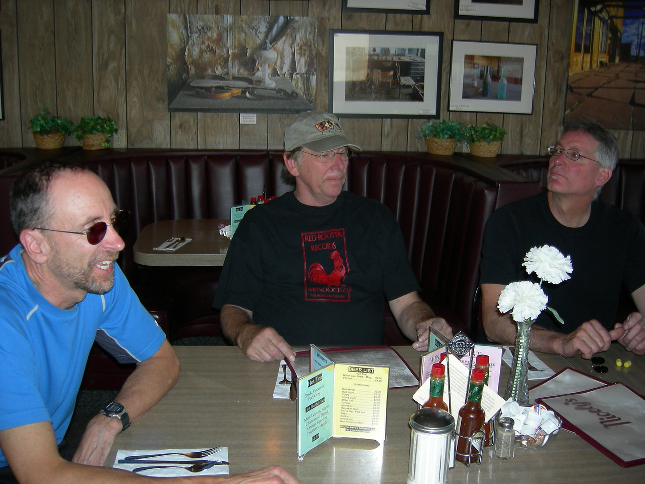 Bob, David and Mario waiting for pie at Nicely's.