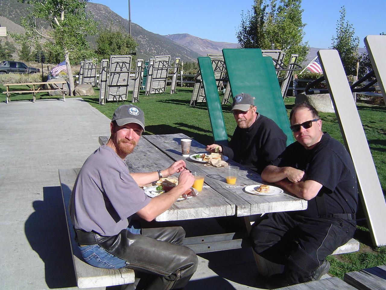 Warren Barnes, Richard Burton & Nick Brown having breakfast.