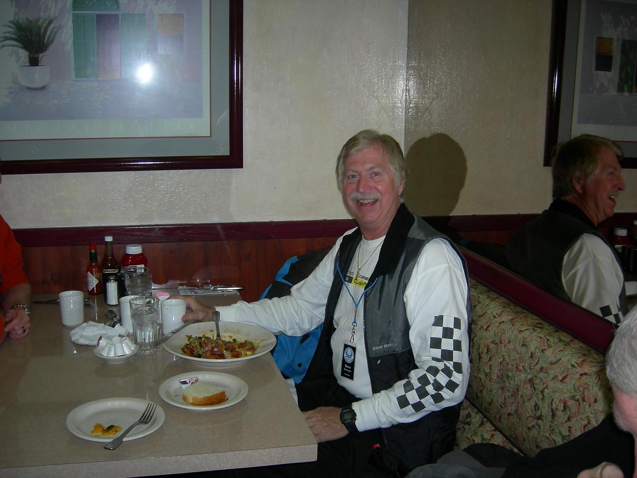 Steve Kesinger having breakfast at Bill's Café.