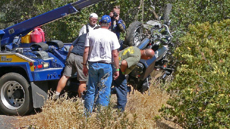 The tow truck driver was a motorcyclist who took care when lifting the bike (Photo:Tandy Bozeman)
