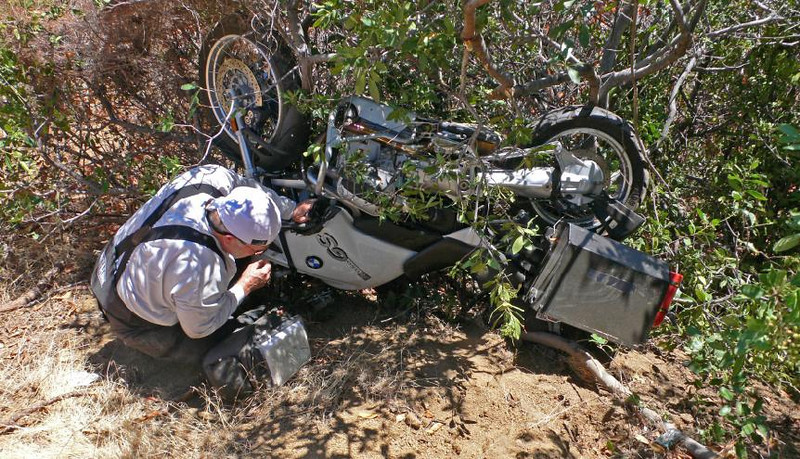 Not the best place to park your BMW. A little sand in the curve, a hand full of brakes, and an out of control flight off the road and over the cliff (Photo:Tandy Bozeman)