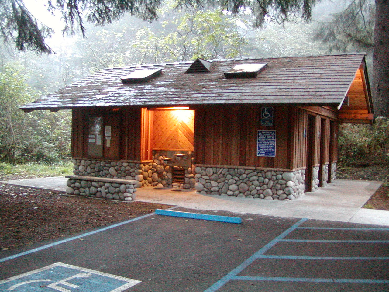 The excellent restroom and shower building at the Lookout group campsite