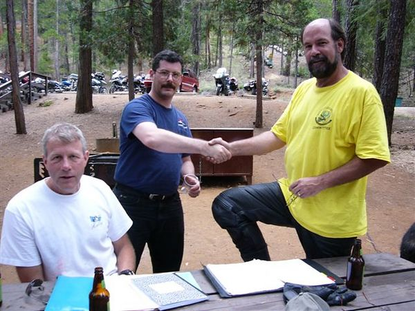 by John Kabala: Our V.P. Mark congratulating Steve Palmer for ??