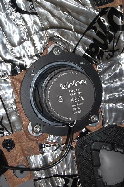 "Dynamat, aftermarket speaker and speaker ring from   <a href=""http://www.car-speaker-adapters.com/items.php?id=SAK076""> Car-Speaker-Adapters.com</a>   installed"