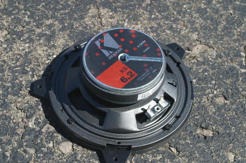 "Rear view: Aftermarket speaker mounted to speaker adapter from   <a href=""http://www.car-speaker-adapters.com/items.php?id=SAK015""> Car-Speaker-Adapters.com</a>"