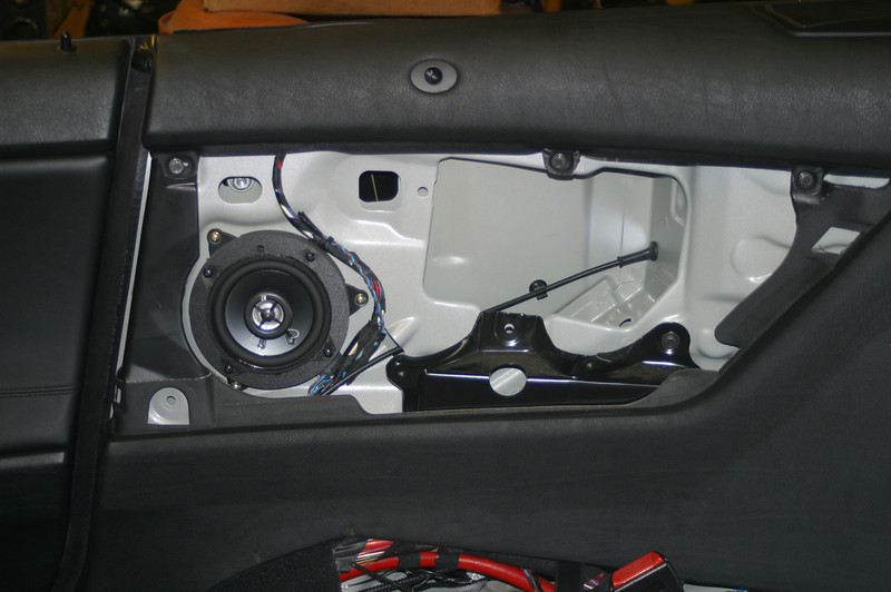 """Aftermarket speaker and speaker adapter bracket assembly from    <a href=""""http://www.car-speaker-adapters.com/items.php?id=SAK110""""> Car-Speaker-Adapters.com</a>   mounted to car body"""
