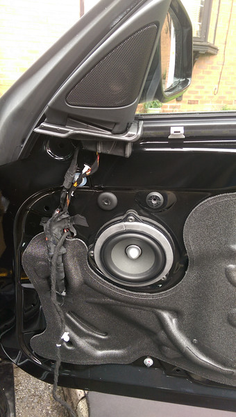 "Aftermarket speaker and speaker adapter<br /> <br /> <a href=""http://car-speaker-adapters.com/items.php?id=SAK076"">http://car-speaker-adapters.com/items.php?id=SAK076</a><br /> <br /> installed on door"
