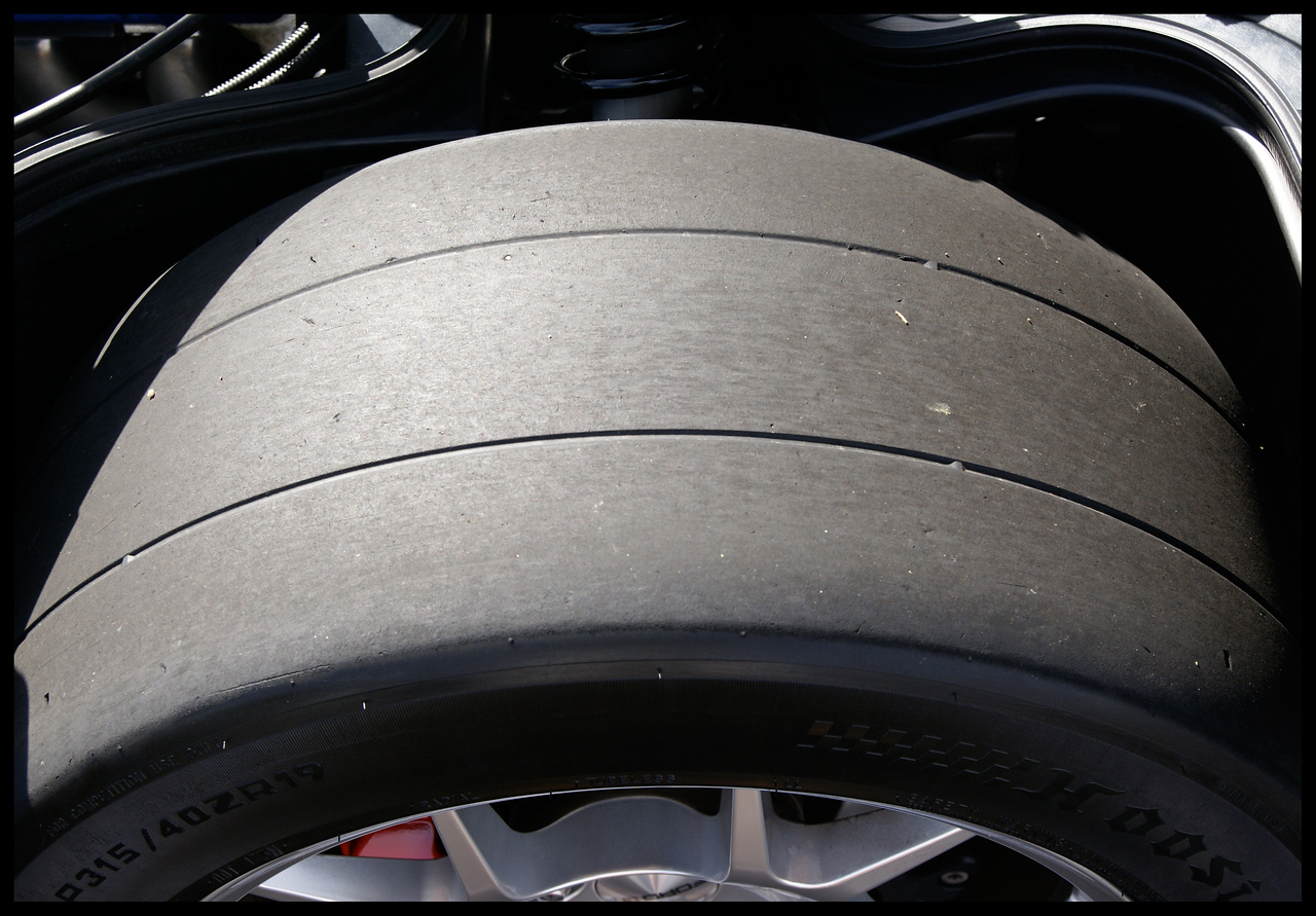 The rear tire on the Ford GT.