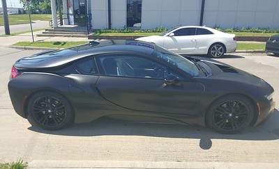 BMW I8 with satin black SkinzWrap, Dallas, TX