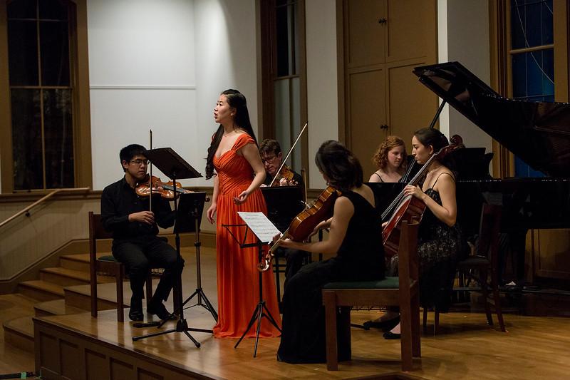 Boya Wei, soprano; Bard Music West Quartet; Allegra Chapman '10<br /> Photo: Kevin Fryer