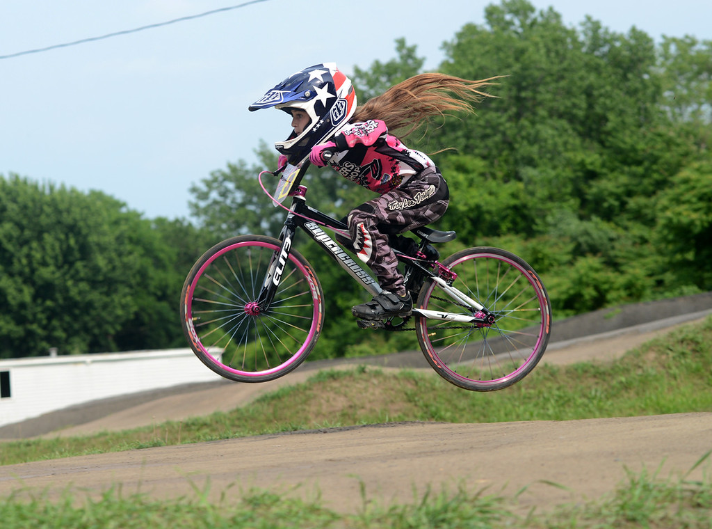 . Tania Barricklo-Daily Freeman  Jenna Miller catches some ait on a \'table\' on hte BMX Track at Kingston Point.