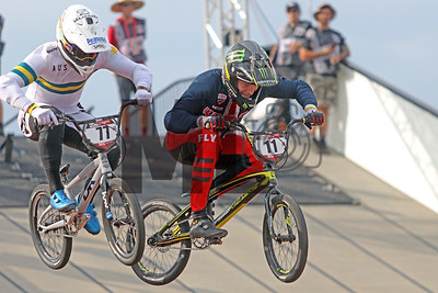 Kai Sakakibara of Australia and Connor Fields of the United States race at the UCI BMX Supercross World Cup Round 8 at Rock Hill, S.C., on Saturday, Sept. 14, 2019.