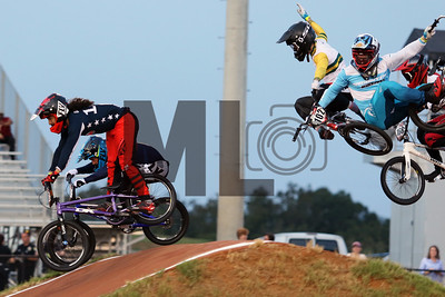 Jared Garcia (187) of the United States races as Izaac Kennedy (102) of Australia and Federico Villegas (194) of Argentina crash at the UCI BMX Supercross World Cup Round 8 at Rock Hill, S.C., on Saturday, Sept. 14, 2019.