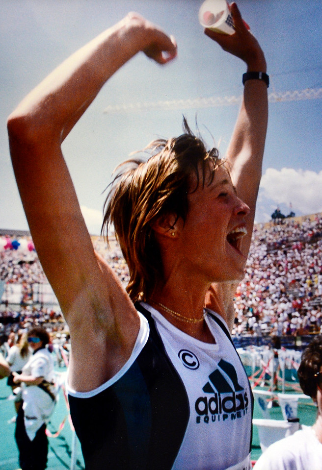 Uta Pippig, winner of the Womens 1993 Bolder Boulder, reacts to the crowd in Folsom Field.