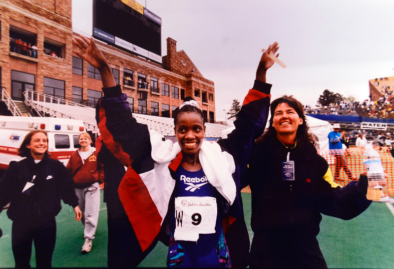 Delillah Asiago winner of the 1995 Women's Bolder Boulder in Folsom Field after the race. <br /> Photo by David Gilkey