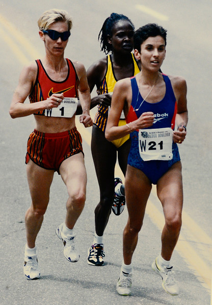 Colleen De Reuck during the 1996 Bolder Boulder. <br /> Photo by Cliff Grassmick